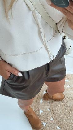Shorts - Lederoptik braun