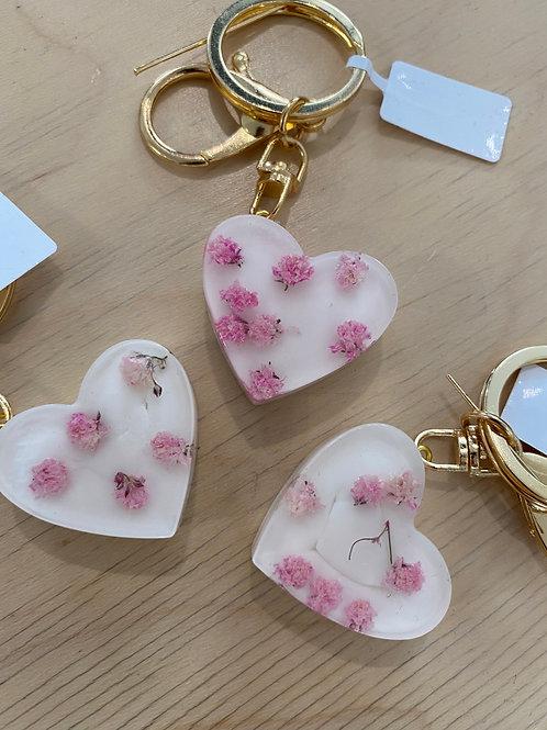 Anhänger Herz Blumen/rosa