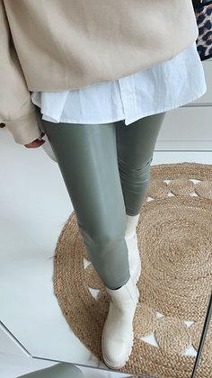 Leggings - Lederoptik grün