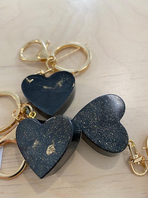 Anhänger Herz schwarz/gold