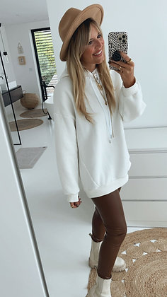 Hoodie - weiß lang