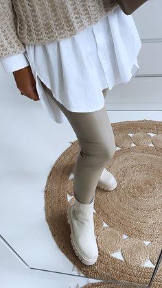 Leggings - Lederoptik beige