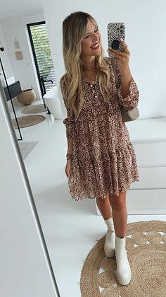 Kleid - braun/weiß
