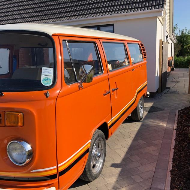 Orange Auto Stripe Bus