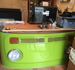 Our office is constructed of vw parts, reception desk is an example.jpg.jpg