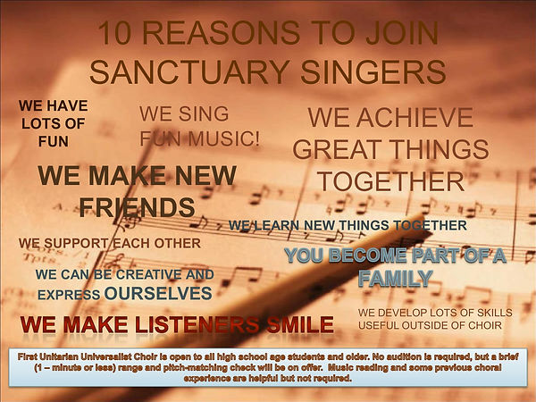 10 REASONS TO JOIN SANCTUARY SINGERS fal