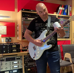 Recording guitars at Abbey Road Studios in London