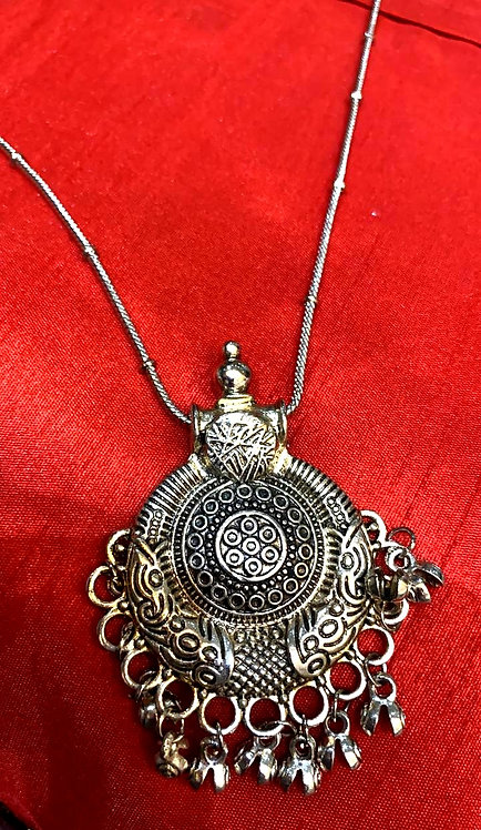 oxidized chain with big locket for women