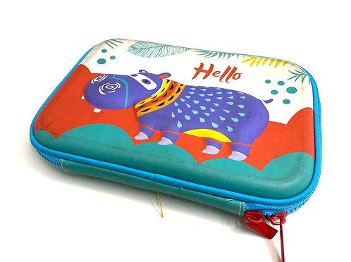 Hippo Embossed Pen Pencil Holder Case Box