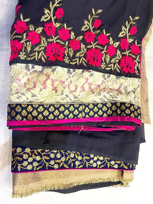Bahubali saree with golden blouse