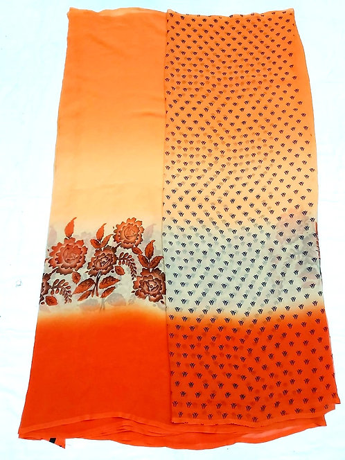 Georgette saree with printed  blouse pcs