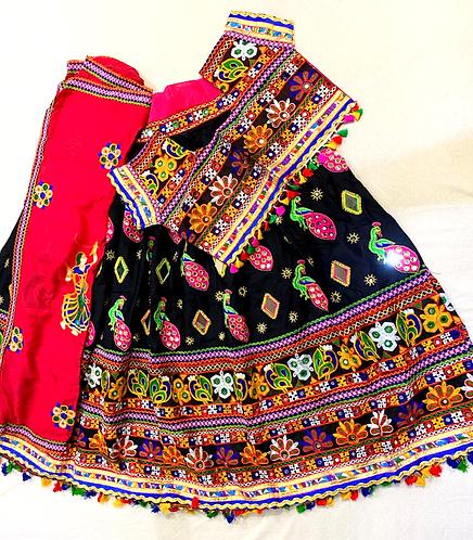 Rayon cloth heavy work,mirror work chaniya choli with cotton soft dupatta