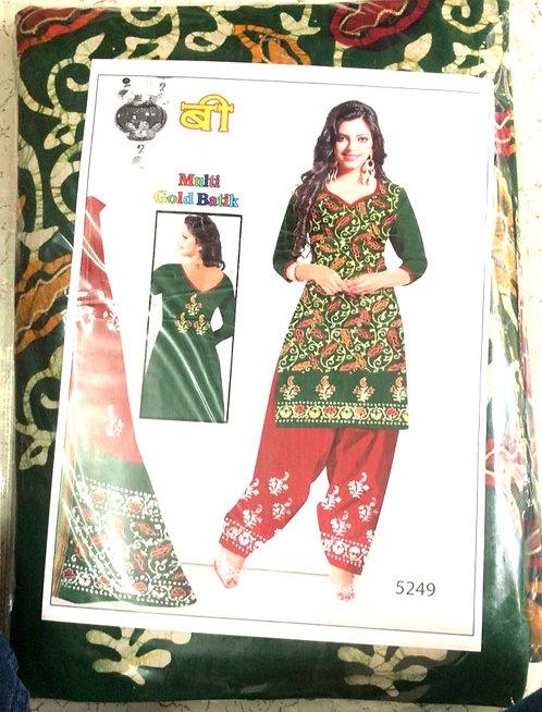Pure Soft Cotton batik Golden Dress Material With SoftCotton Dupatta