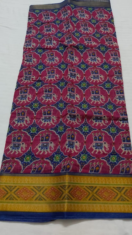 Patola style pure cotton saree with blouse with beautiful border