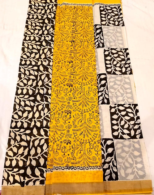 Pure cotton designer saree with blouse