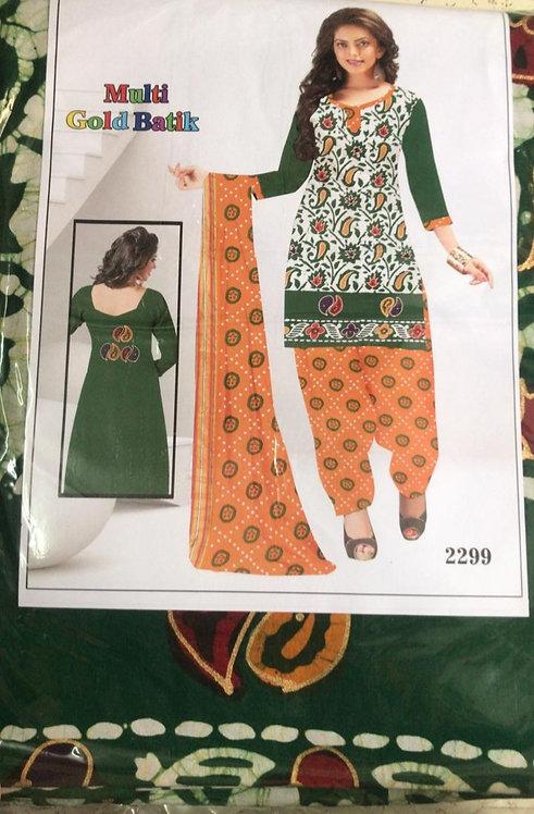 Pure Soft Cotton batik Golden print Dress Material With Soft Cotton Dupatta