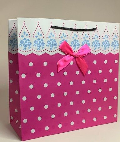 Pink and White Designed Paper Bag