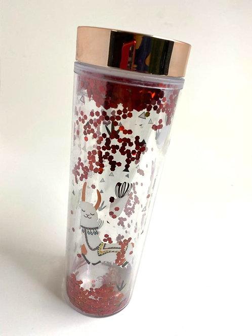 Red Glitter Water Bottle ( 400 ML )