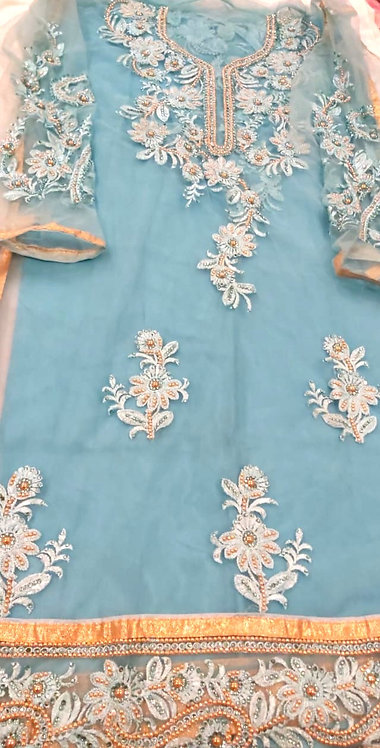 Heavy embroidery with resham and beads ,soft fabric dress material