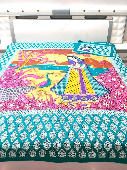 King size jaipuri double bed sheet with 2 pillow cover