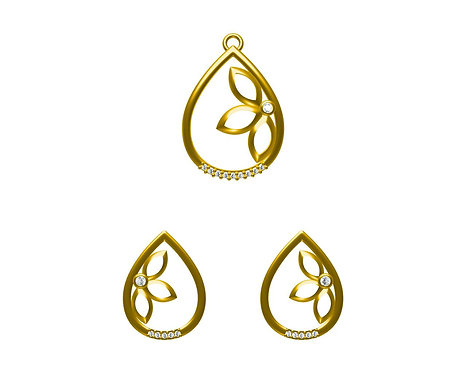 JEWELUPS BY PAPER BOW Real Diamond Pendent Set