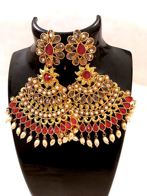 Heavy kundan colourfull earring