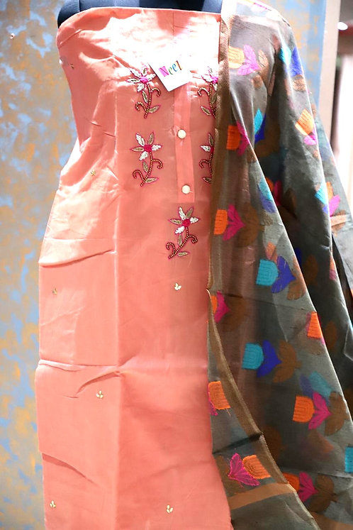 Silk dress material with work with dupatta
