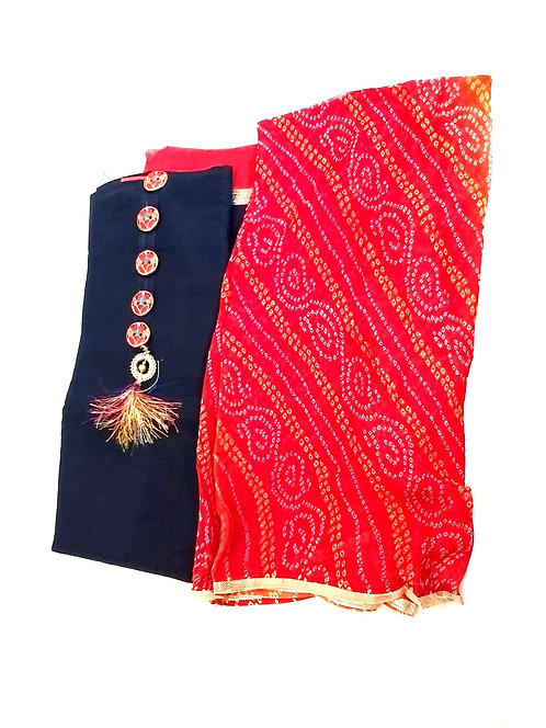 Soft Cotton Dress Material With Georgette Bandhani Print  Dupatta
