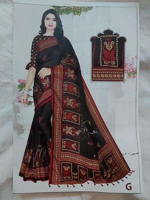Jute pure cotton Saree (Black)