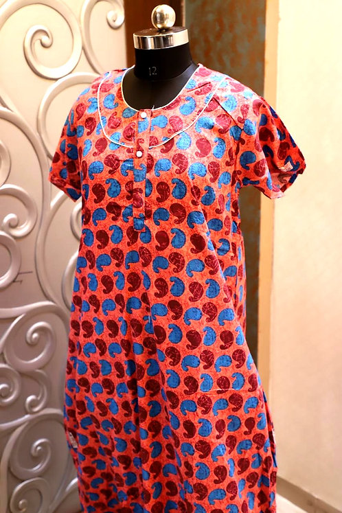 pure cotton night gown ( free size )