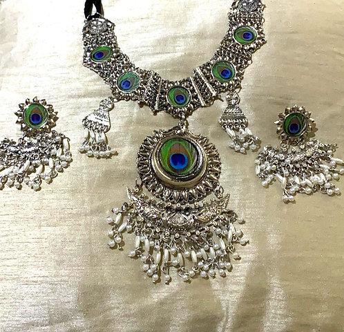 oxidized necklace set peacock design  for women