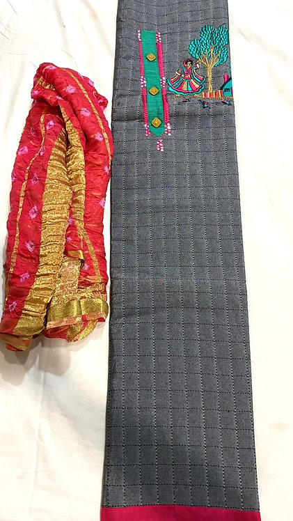 Pure Cotton Dress Material With bandhani  Dupatta