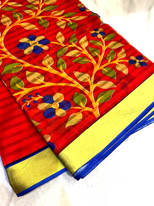 Pure cotton saree with golden print border & printed saree