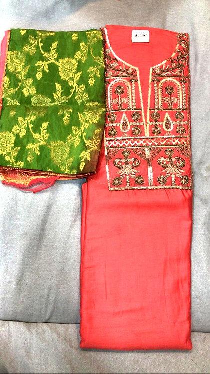 Silk dress material gotta patti work with banarsi dupatta