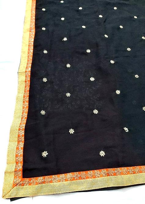 Georgette saree with jari border and jari booti heavy designer blouse pcs