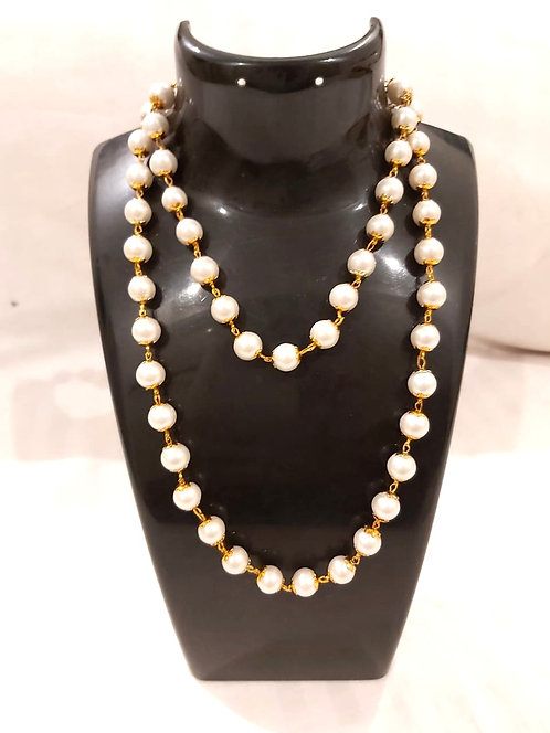 Long white pearl mala