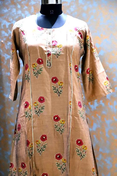Rayon silk type kurti with light gotta patti work ( size XL )
