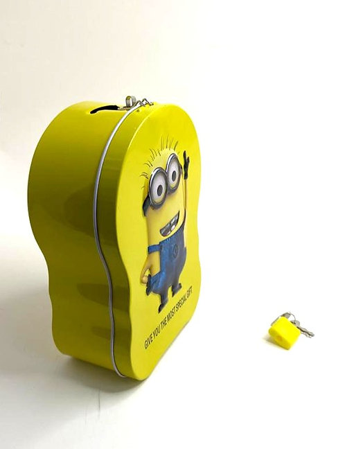 Piggy Bank Metal Body With Lock For Key ( Minion )