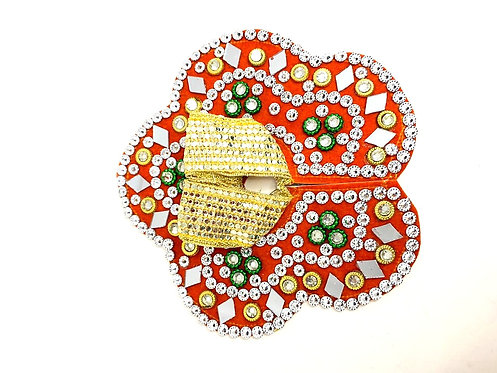 Mirror & Stone work orange colour krishna poshak