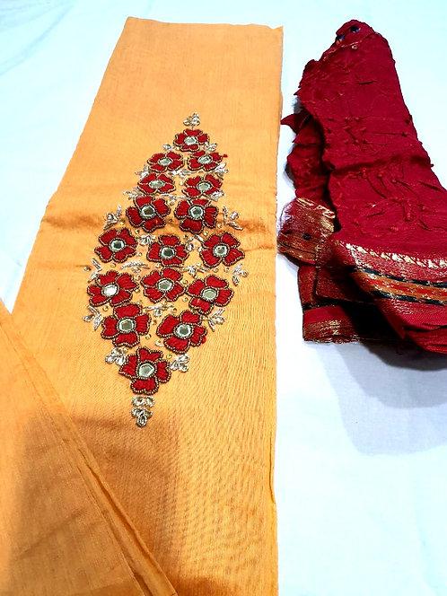 cotton silk dress material with bandhani dupatta
