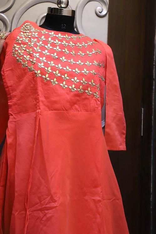 cotton silk long kurti with dupatta