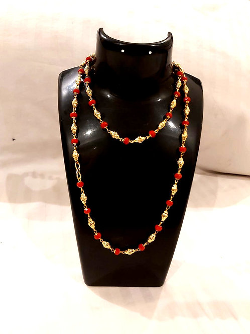 Long Chain For Women ( red& black pearl )