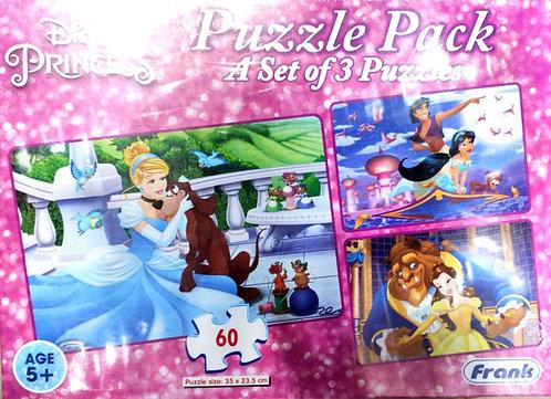DISNEY PRINCESS Puzzle pack (A set of 3 puzzles )