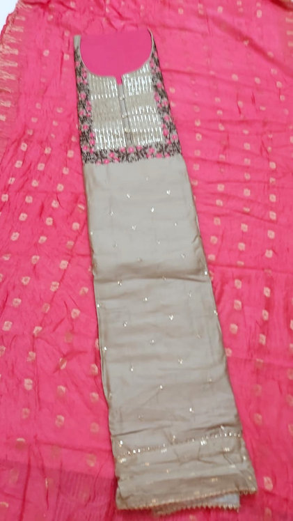 pure cotton silk dress material with sequence and resham work on neck