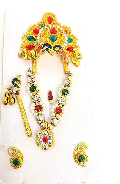 Laddu gopal ji mukut mala shringar set with bansuri,kundal