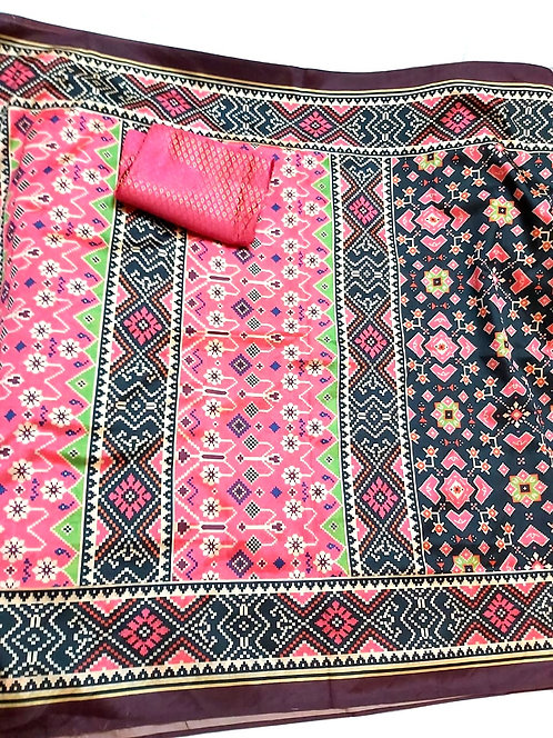 Patola silk synthetic type ,patola parrern,synthetic printed  saree with blouse