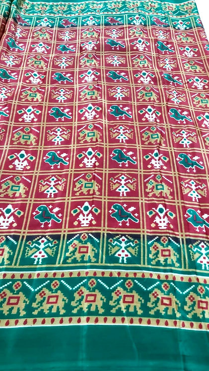 Metal Chiffon Saree with patola print  ( with blouse )