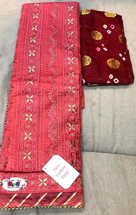 pure cotton gotapatti work with bandhani dupatta dress material