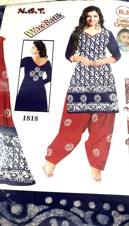 Pure Cotton batik Dress Material With Cotton Dupatta