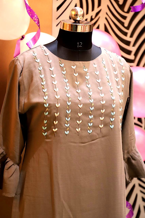 Rayon Crape silk long kurti with work ( size L )